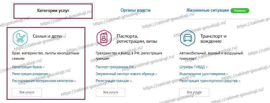 Подача заявления в ЗАГС - категории услуг